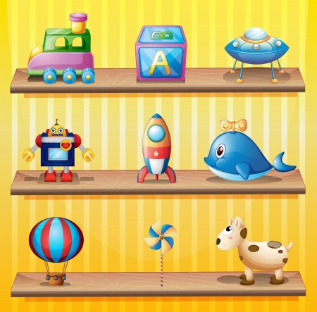 wooden shelves: Illustration of the toys that are arranged neatly in the wooden shelves