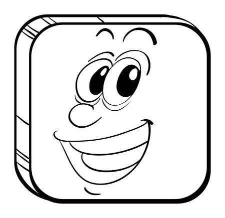Illustration of a cube with a face of a man on a white background Vector