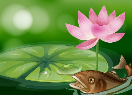 Illustration of a pond with a fish, a waterlily and a flower Stock Vector - 18716528