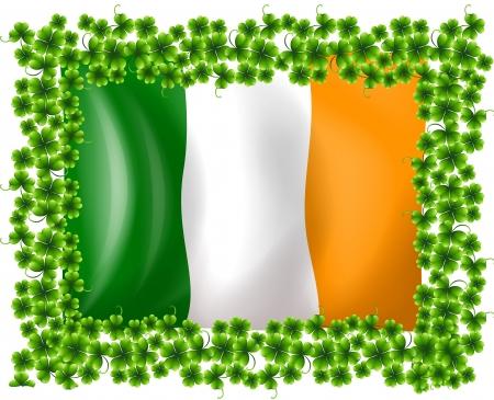 patron saint of ireland: Illustration of a framed flag of Ireland on a white background