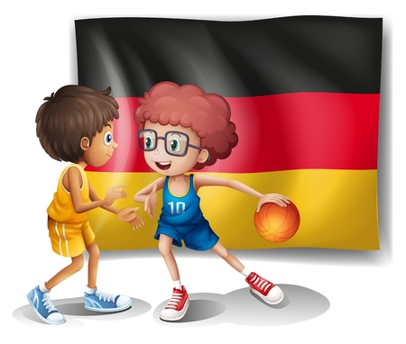 Illustration of the flag of Germany with the two athletes on a white background Vector