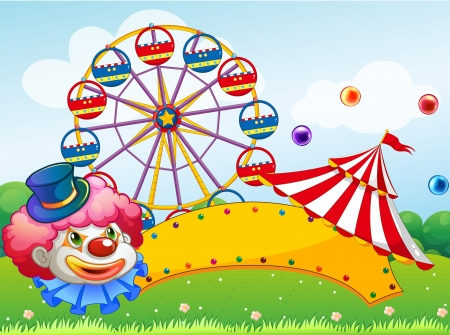 Illustration of a clown in front of a ferris wheel Stock Vector - 18716748