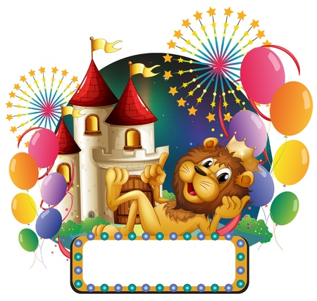 king palace: Illustration of a lion king lying in front of a palace with balloons and fireworks on a white background