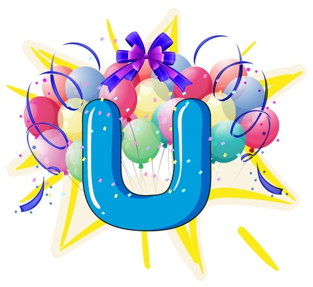 alphabet letter a: Illustration of balloons and celebration behind letter