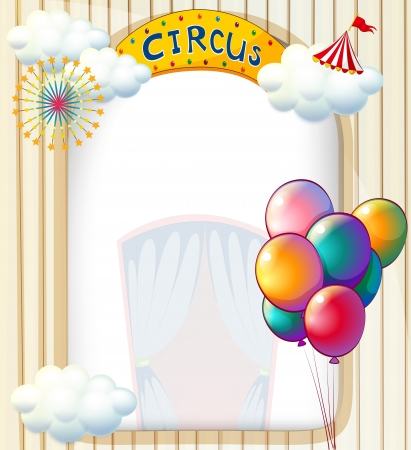 circus poster: Illustration of a circus entrance with balloons