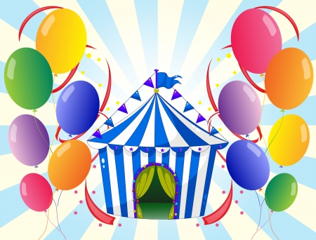 picutre: Illustration of the welve colorful balloons and the stripe tent Illustration