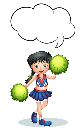 Illustration of a cheerleader with an empty callout  on a white background
