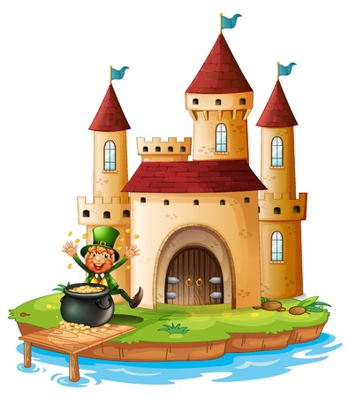 feast of saint patrick: Illustration of a palace with an old man near the pot of gold coins on a white background