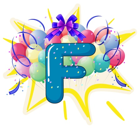 Illustration of balloons and celebration behind letter Vector