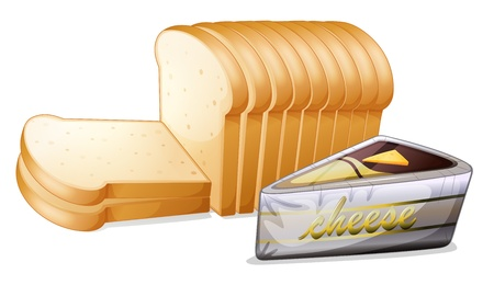 white bread: Illustration of the sliced bread with cheese on a white background Illustration