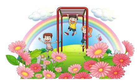 niños jugando en el parque: Ilustración de un parque en la cima de las colinas con los niños que juegan en un fondo blanco