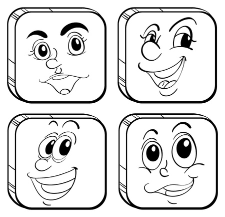 Illustration of the four different kinds of square faces on a white background Stock Vector - 18715927