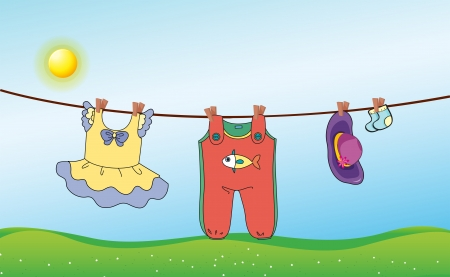 Illustration of a childs washed clothing Vector