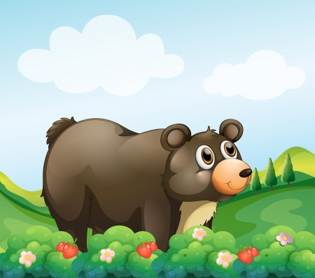 Illustration of a big brown bear in the garden Vector
