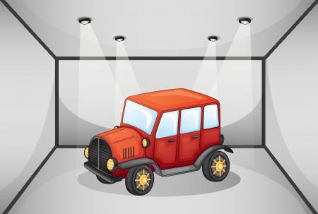 pick up: Illustration d'un pick-up rouge � l'int�rieur du garage