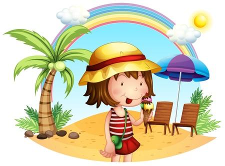 kid eat: Illustrazione di una spiaggia con una bambina su uno sfondo bianco