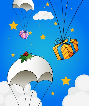 Illustration of the three parachutes with gifts Vector