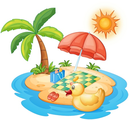 Illustration of a summer at the beach on a white background Vector