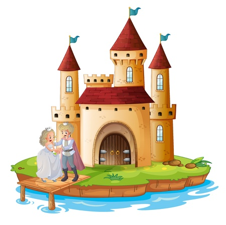 highness: Illustration of a prince and a princess in front of the palace on a white background Illustration