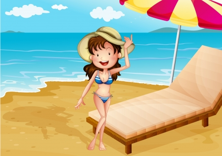 Illustration of a relaxing bed at the beach with a girl Vector