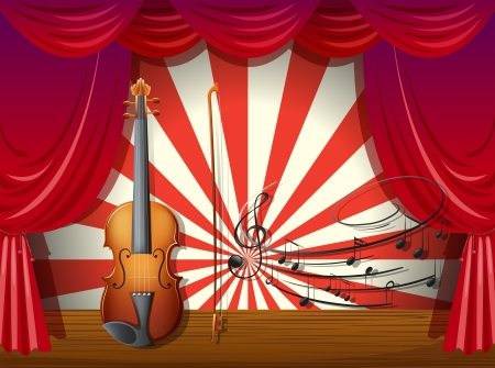 Illustration of a violin with musical notes at the stage Stock Vector - 18716115