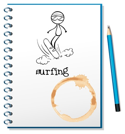 picure: Illustration of a notebook with a sketch of a person surfing on a white background Illustration
