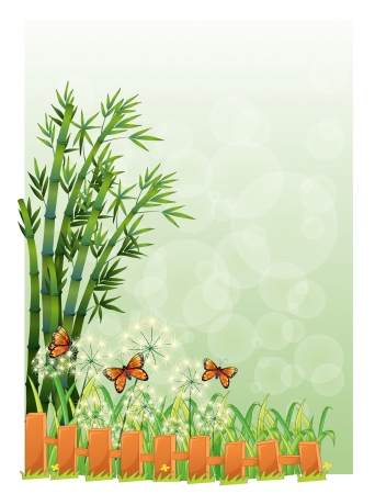 Illustration of a stationery with bamboos and butterflies on a white background Vector