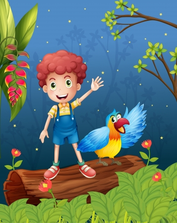 picure: Illustration of a boy with a bird at the forest