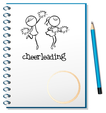 cheerleading: Illustration of a notebook with a cheerleading design on a white background