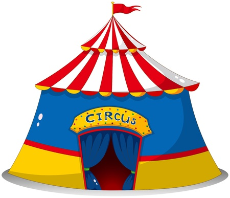 triangular banner: Illustration of a colorful circus tent on a white background