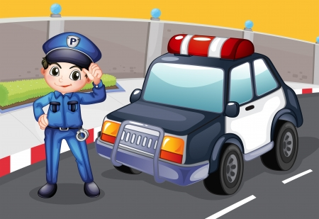 highway patrol: Illustration of an officer and his patrol car Illustration