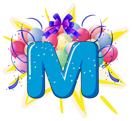 new: Illustration of balloons and celebration behind letter
