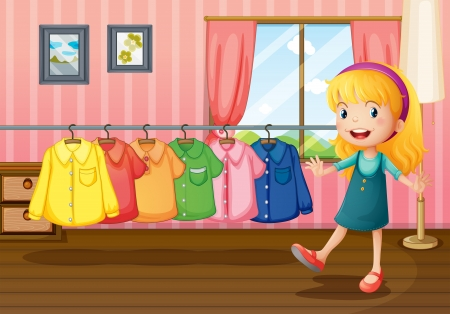 Illustration of a girl beside the hanging clothes inside the house