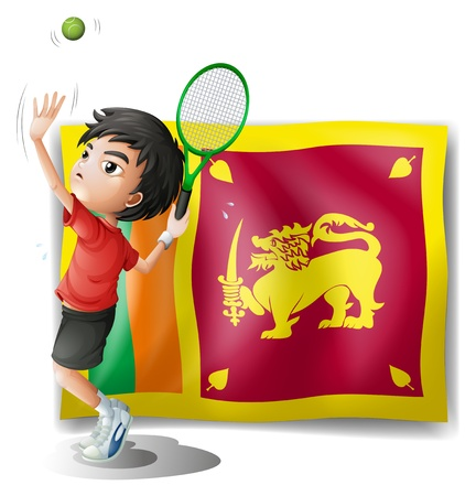 srilanka: Illustration of a boy playing tennis in front of the Sri Lanka Flag on a white background  Illustration