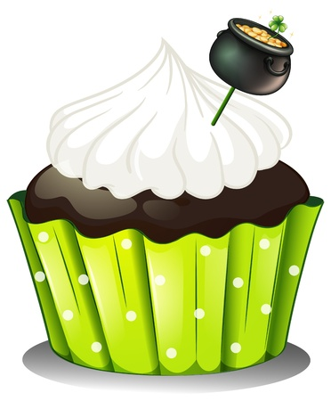 feast of saint patrick: Illustration of a chocolate cupcake with white icing and a pot of gold on a white background