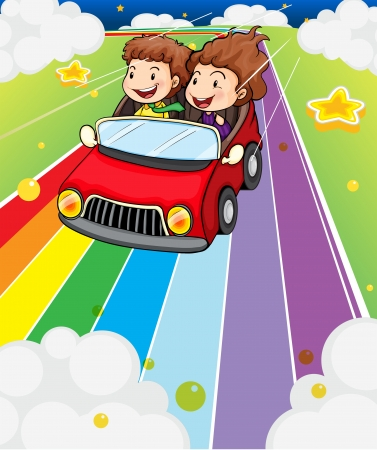 Illustration of the two kids riding in a red car Illustration