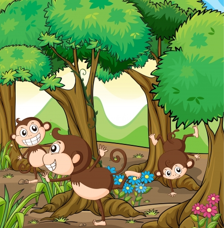 Illustration of the three monkeys playing in the forest Vector