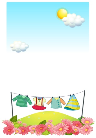 Illustration of the hanging clothes at the hilltop Vector