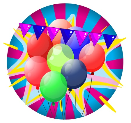 occassion: Illustration of the colorful balloons inside the big circle on a white background
