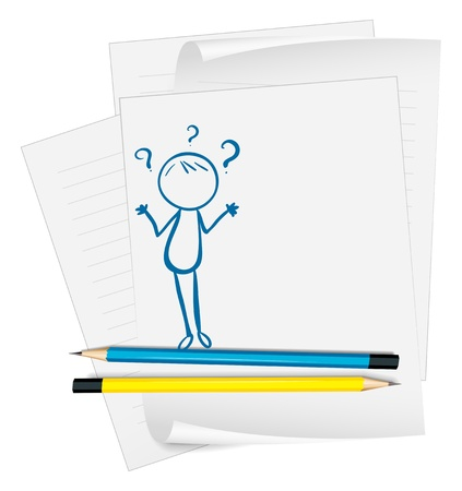 Illustration of a paper with a sketch of a confused person on a white background Vector