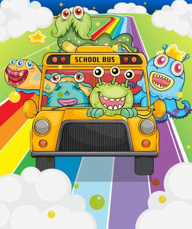 transport scolaire: Illustration d'un autobus scolaire dont les monstres Illustration