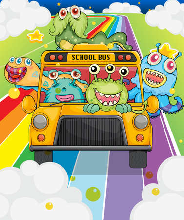 red bus: Illustration of a school bus with monsters Illustration