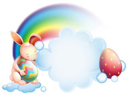 Illustration of a bunny holding an egg while sleeping in front of a rainbow on a white background