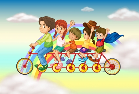 Illustration of a family bike with a group of people riding Vector