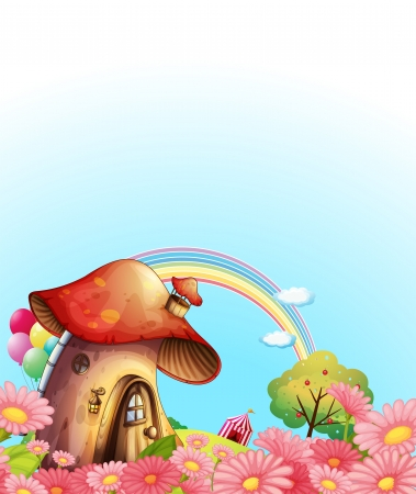 pink hills: Illustration of a mushroom house above the hill with a garden Illustration