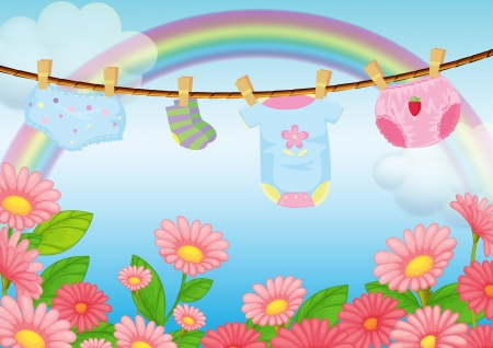 Illustration of the infant clothes near the garden Vector