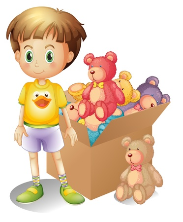 Ilustración de un niño al lado de una caja de juguetes en un fondo blanco Ilustración de vector