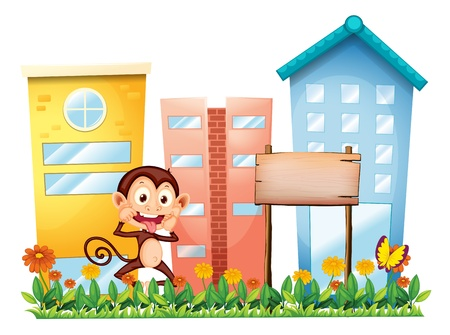Illustration of a monkey in the garden with a wooden signboard on a white background Vector