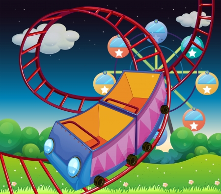 amusement: Illustration of a roller coaster ride at the carnival