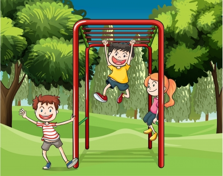 kids garden: Illustration of the three kids playing at the park Illustration